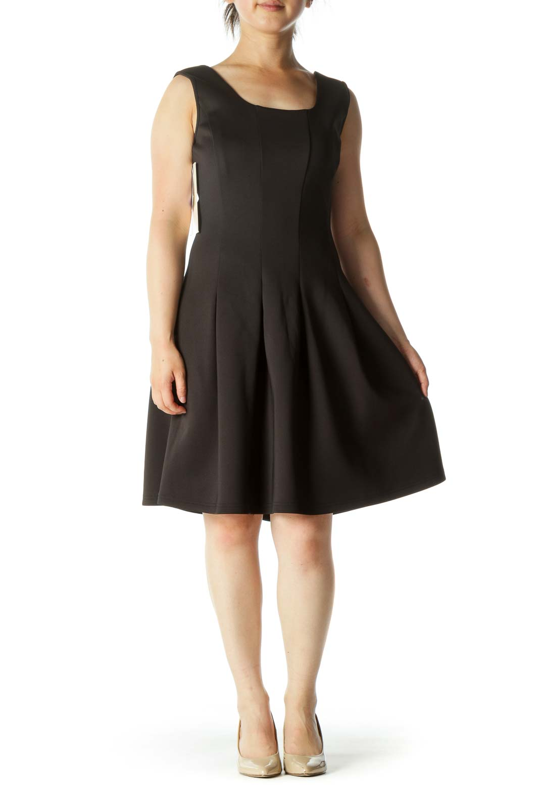 Black A-Line Pleated Work Dress