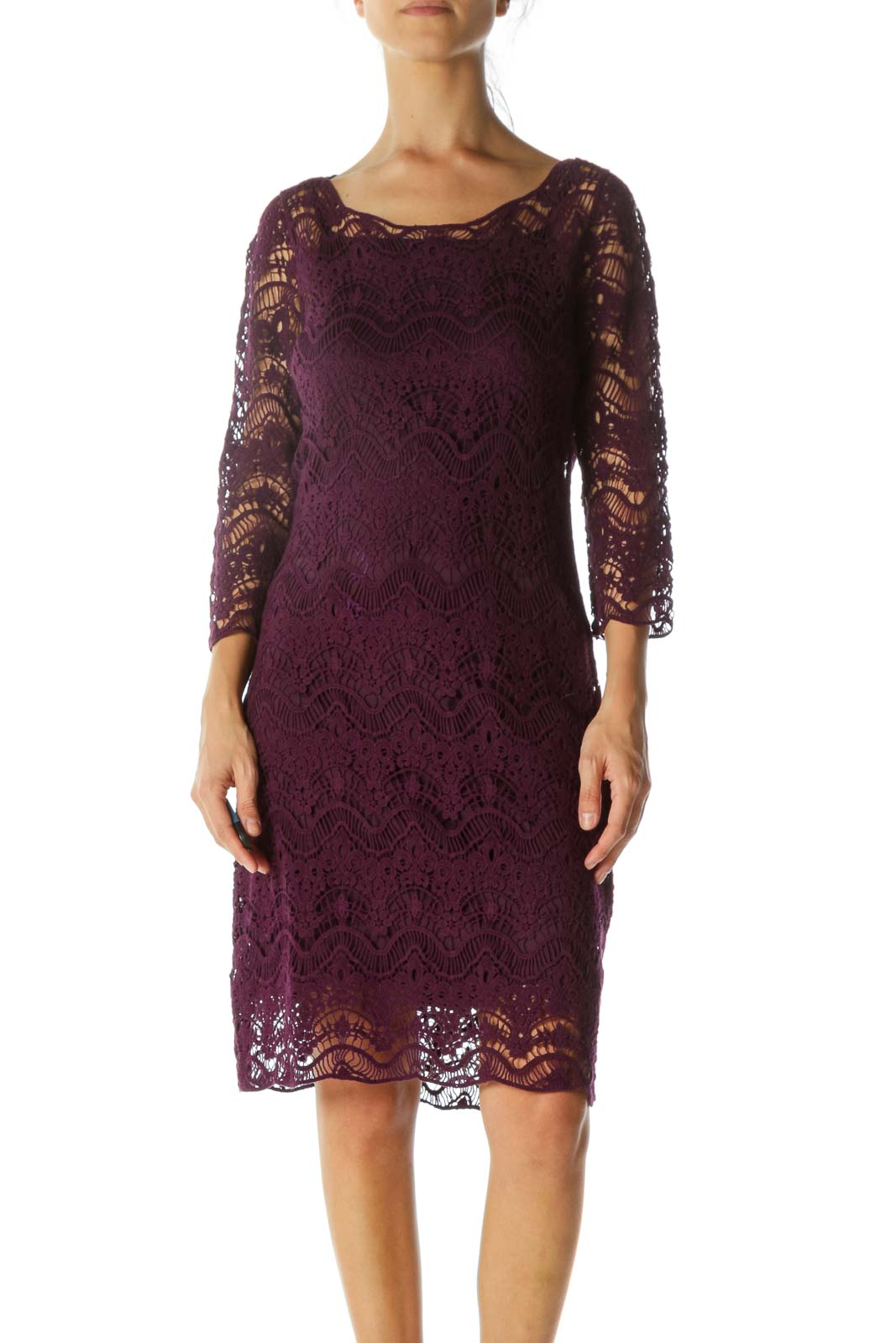 Purple Lace Cotton-Knit 3/4 Sleeve Knit Dress