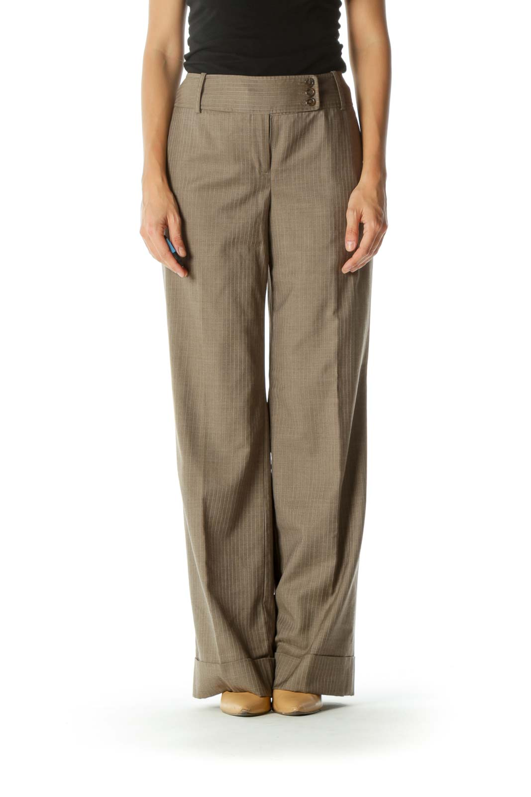 Brown Wool Silk Blend Striped Texture Draped Pants