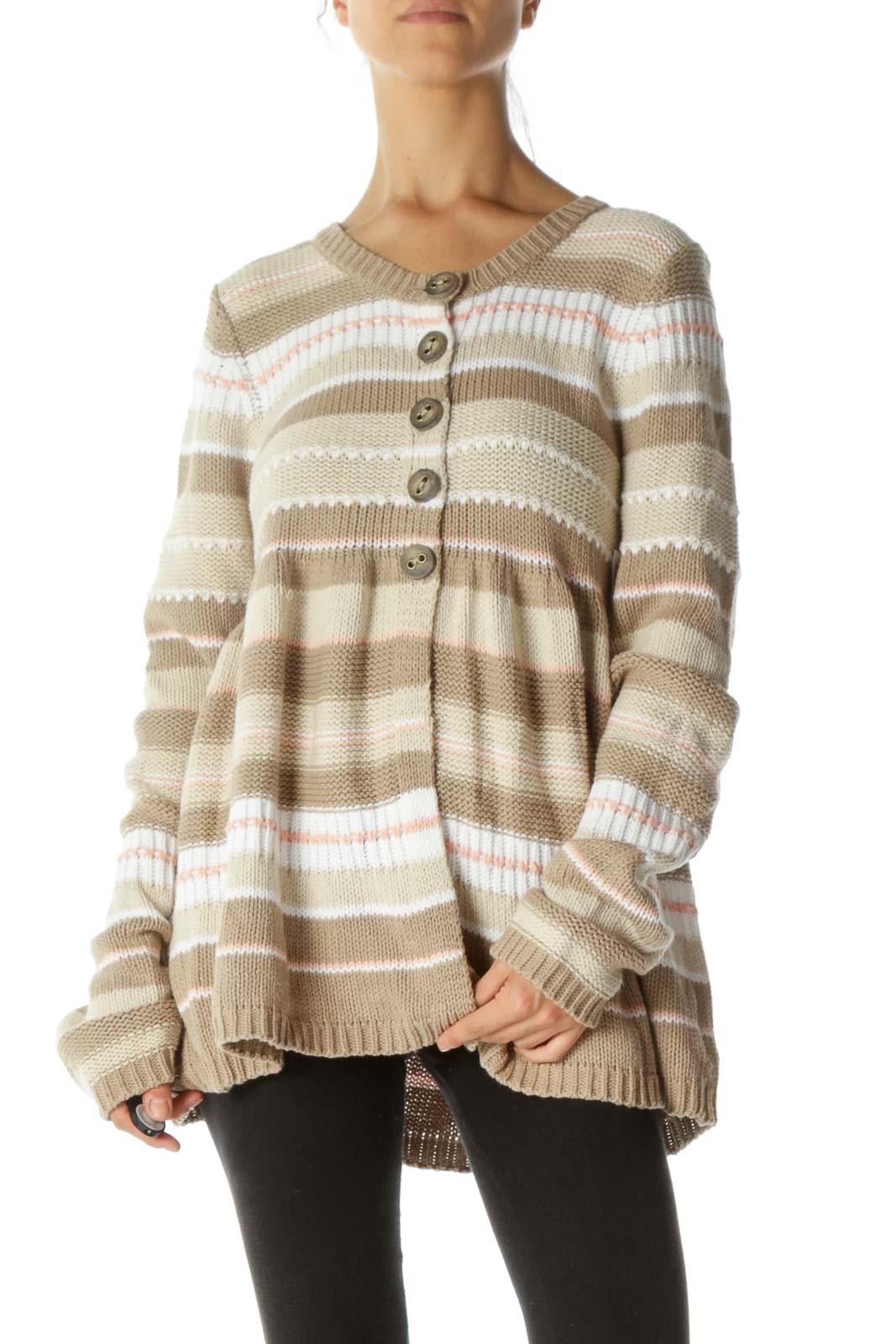 Beige, White and Pink Striped Peplum Cardigans