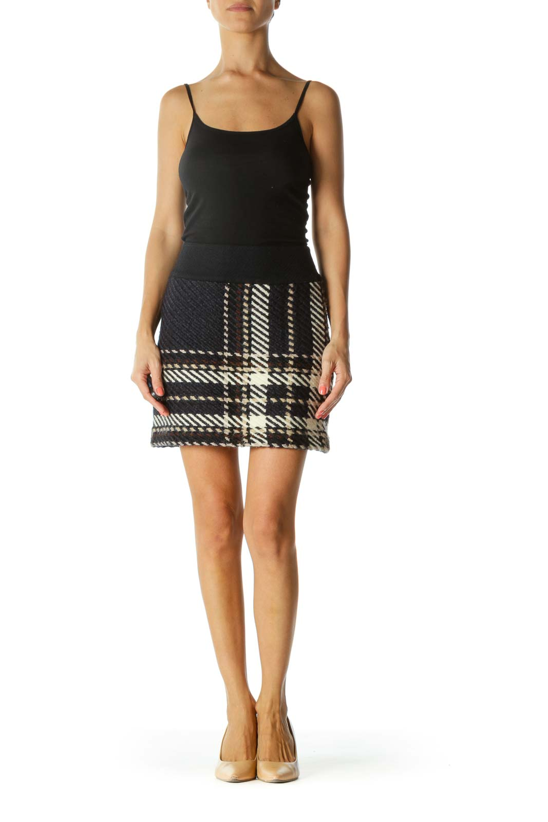 Navy and Cream Multicolor Knit Pencil Skirt