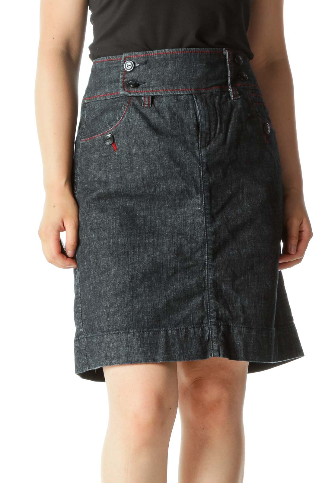 Blue Red Dark-Wash Buttons-Detail Stretch Denim Skirt