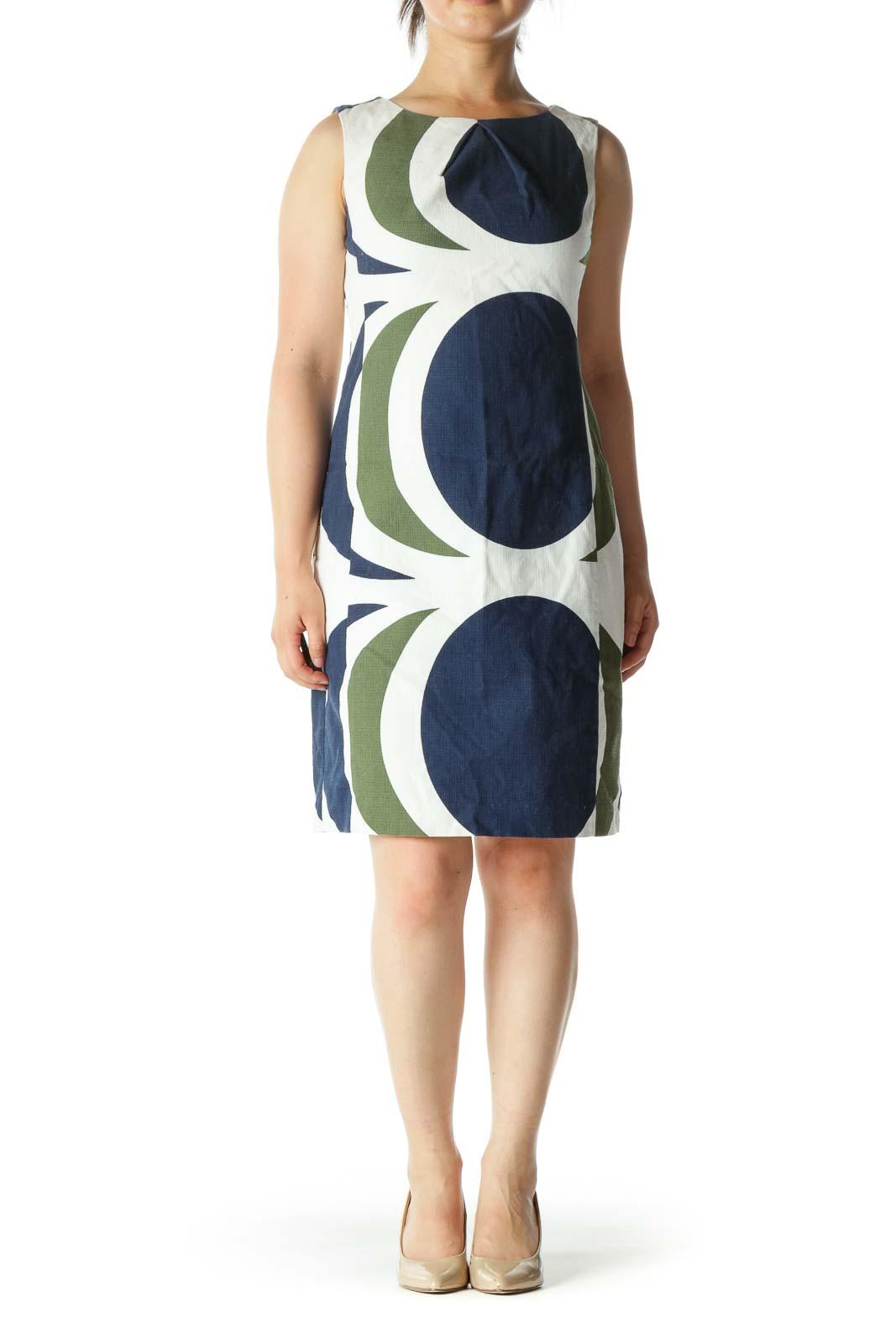 White Blue Green Cotton Blend Knit Textured Print Dress