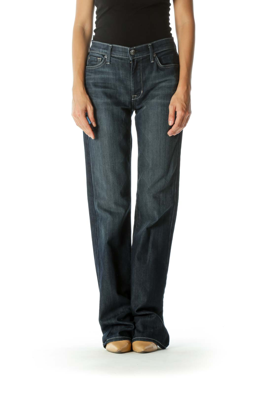 Blue Dark-Wash High-Rise Bootcut Stretch Denim Jeans