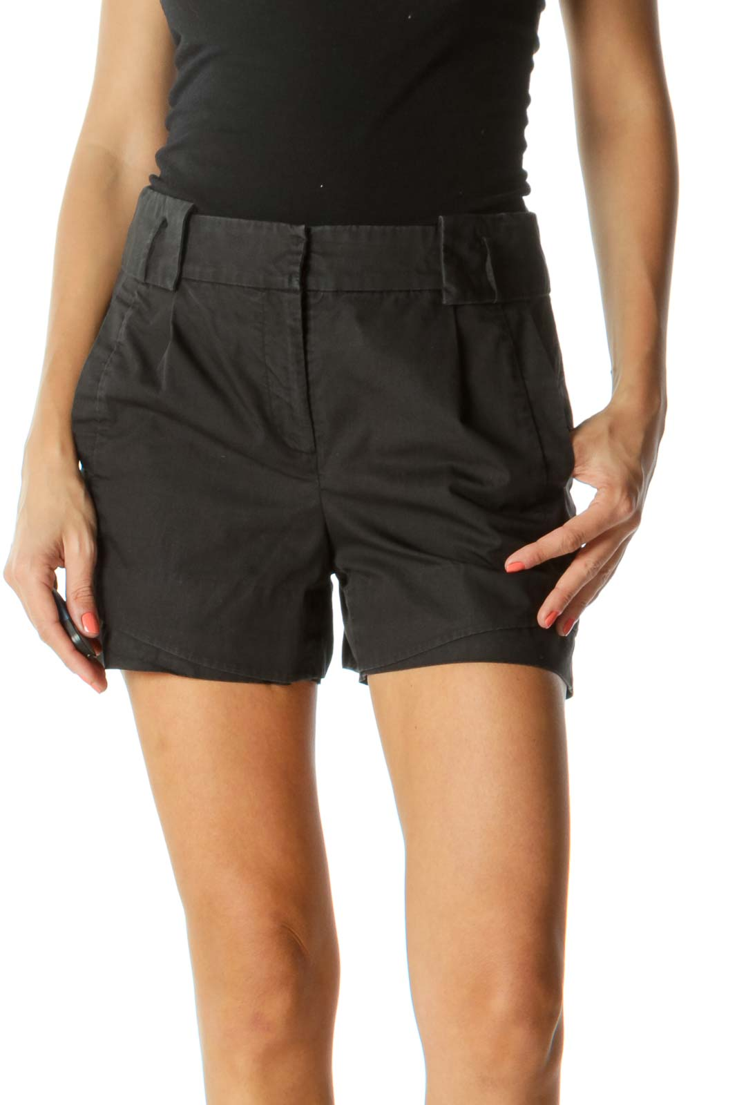 Black Pleating Detail on Front and Back Shorts