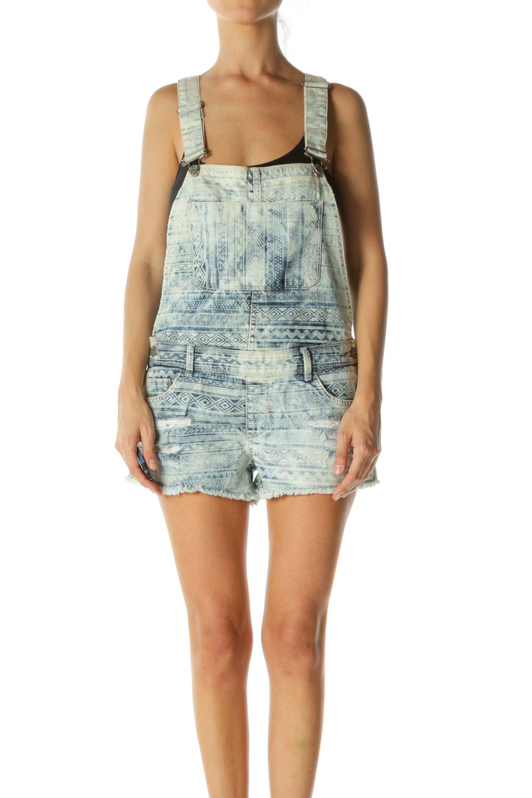 Blue Distressed Tribal Print Short Overalls