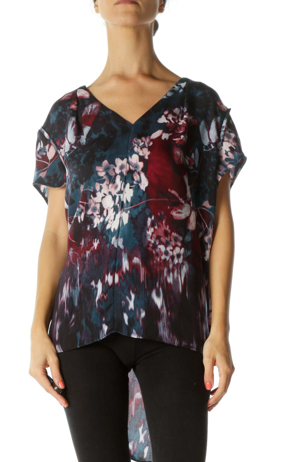 Blue and Burgundy Multicolor Floral Tunic