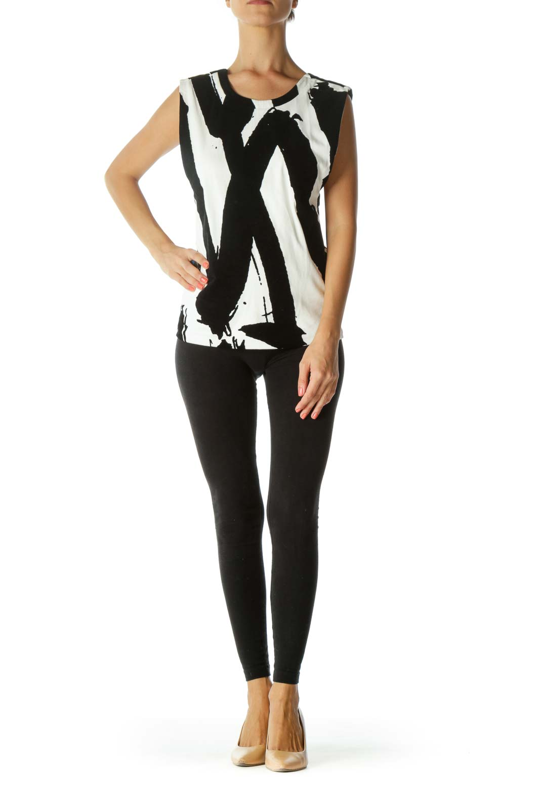 Black and White Open V-Neck Back Top with Raised Black-Velvet Design