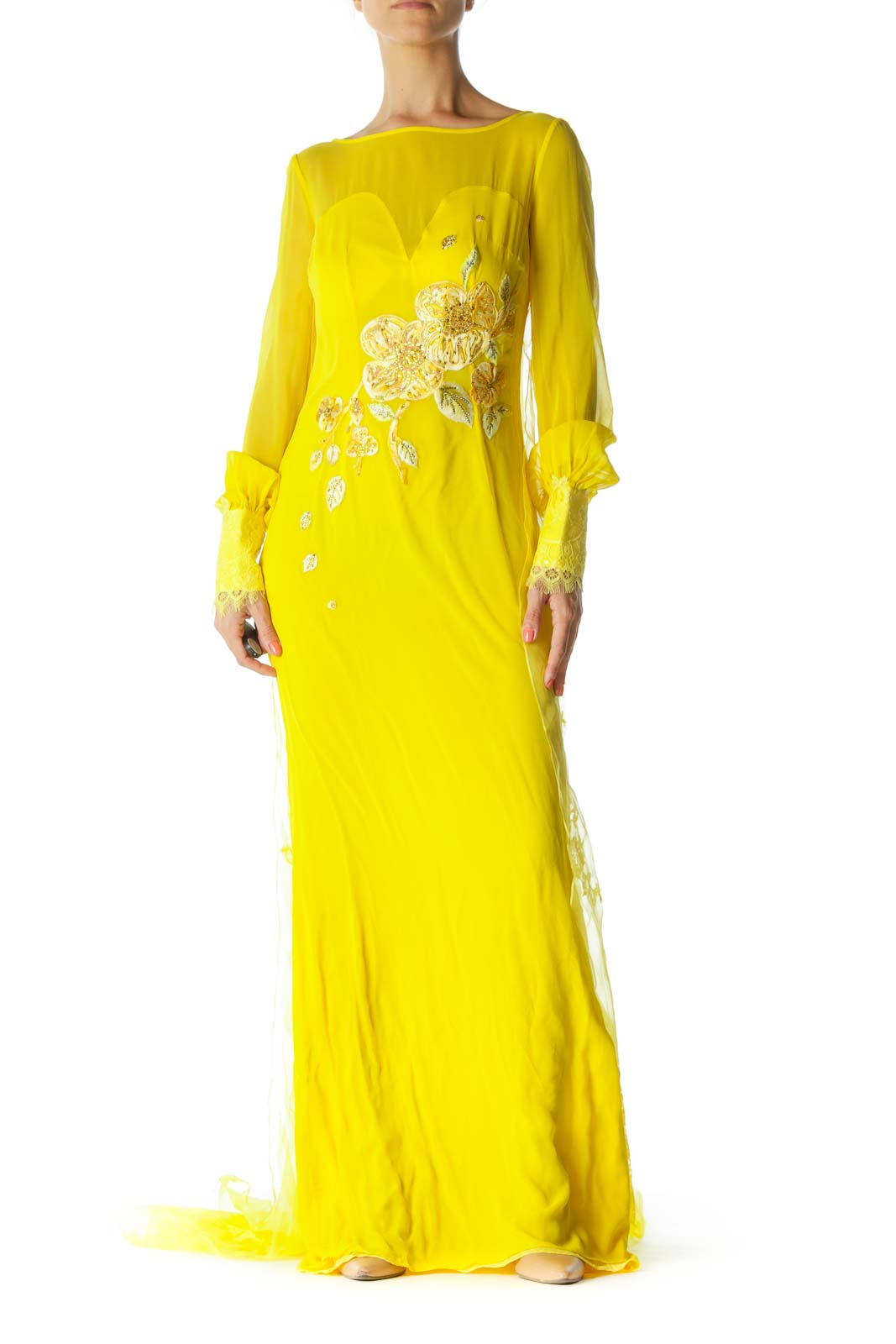 Yellow Long Sleeve Floral Embroidered Maxi Dress