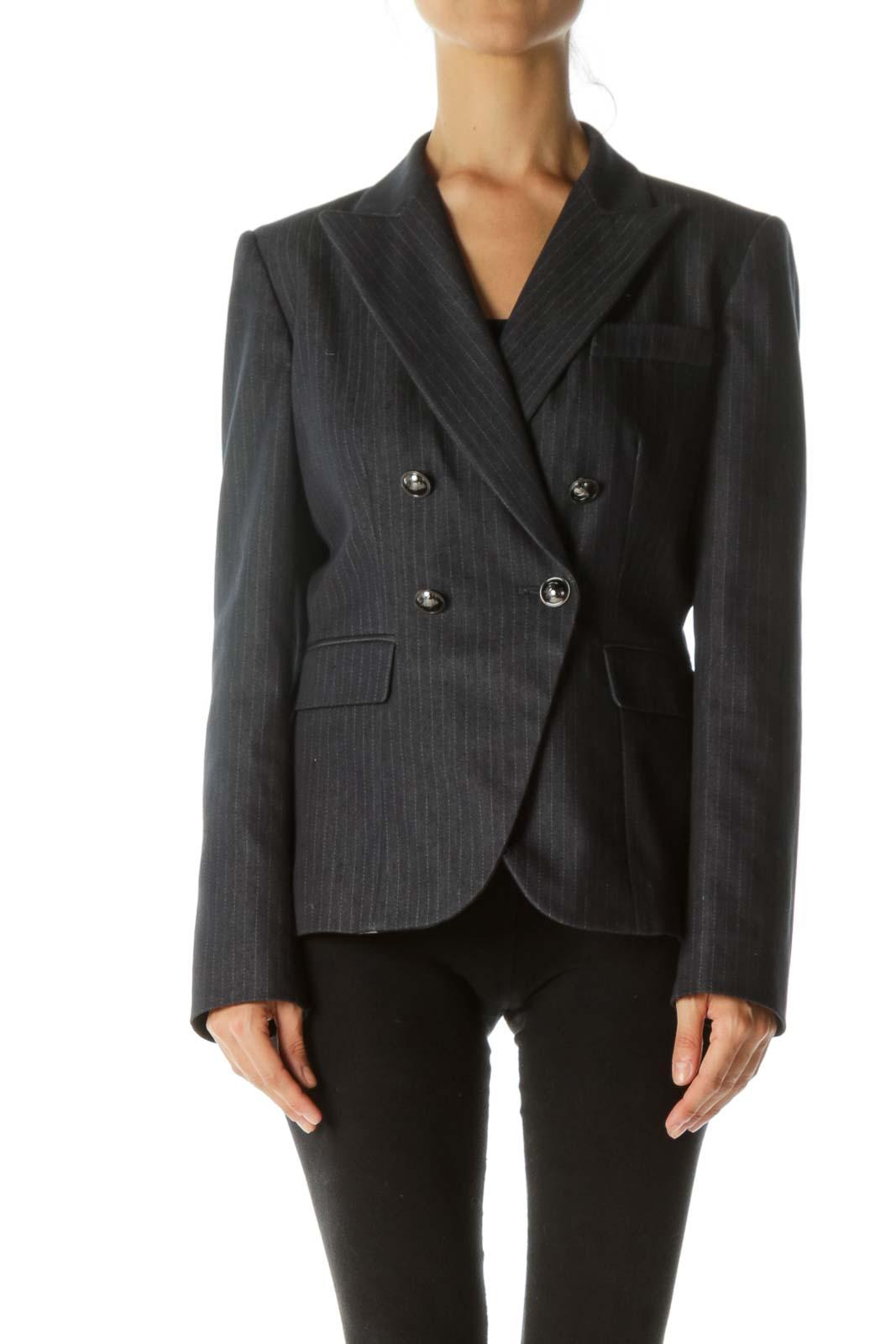 Navy Pinstripe Buttoned Blazer