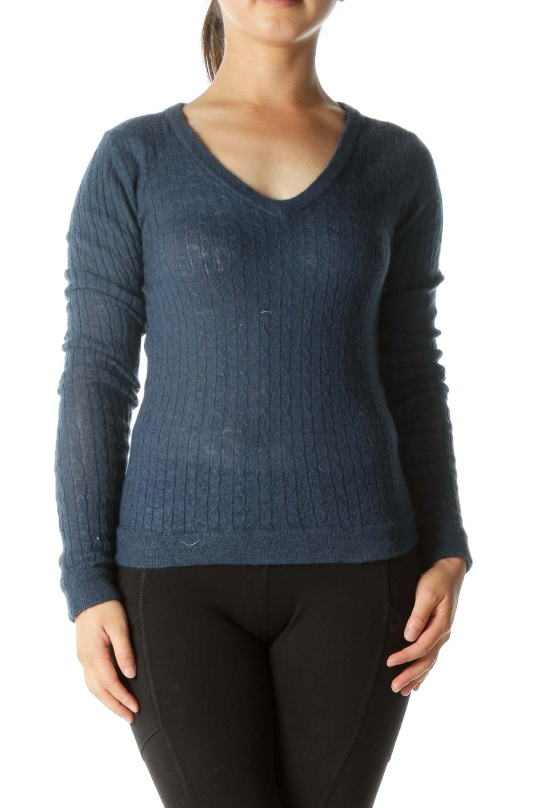 Navy Wool V-Neck Sweater