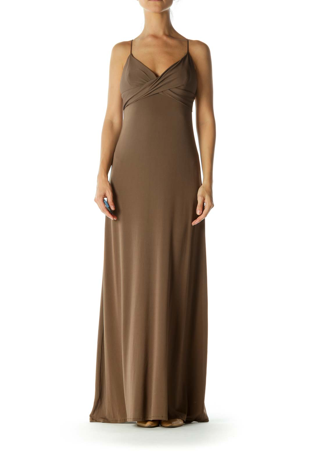 Brown Spaghetti Strap Maxi Dress
