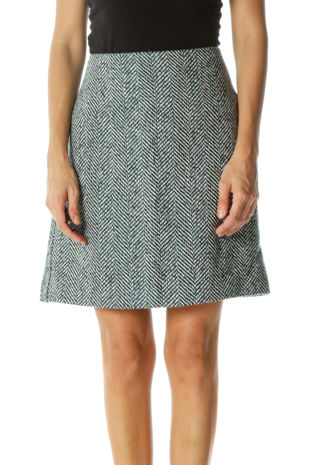 Blue White Black Wool Blend Cinched Waist Knit Skirt