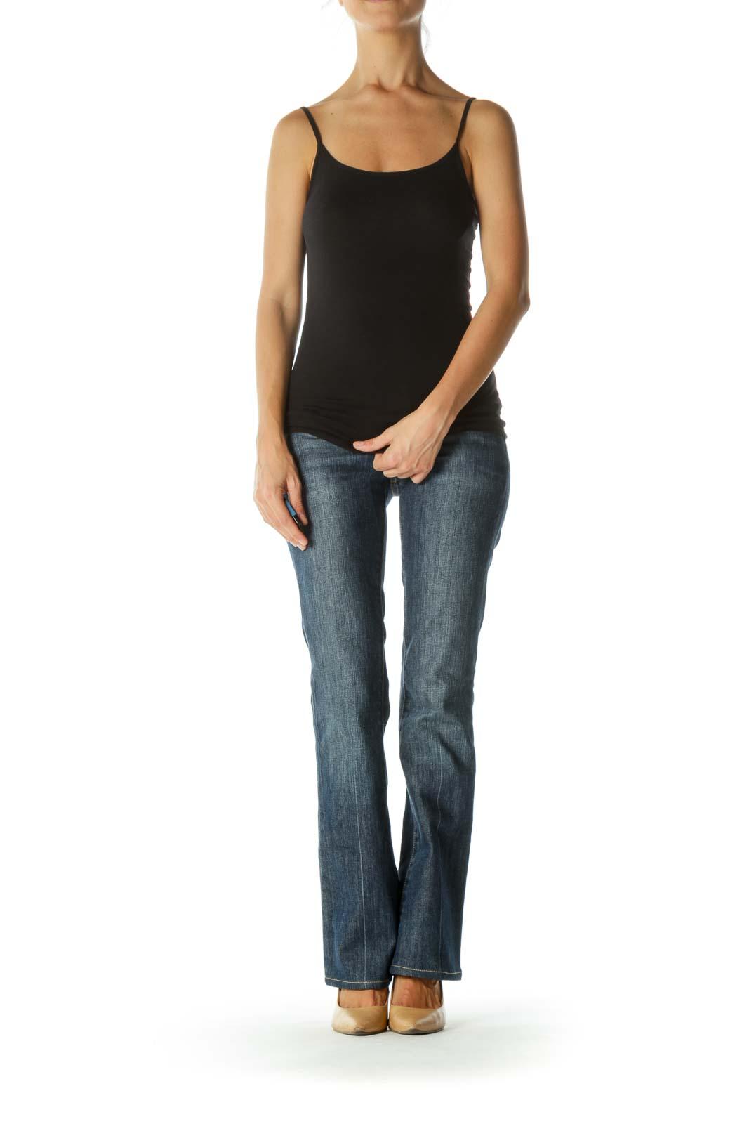 Blue Bootcut Medium-Wash Stretch Denim Jeans