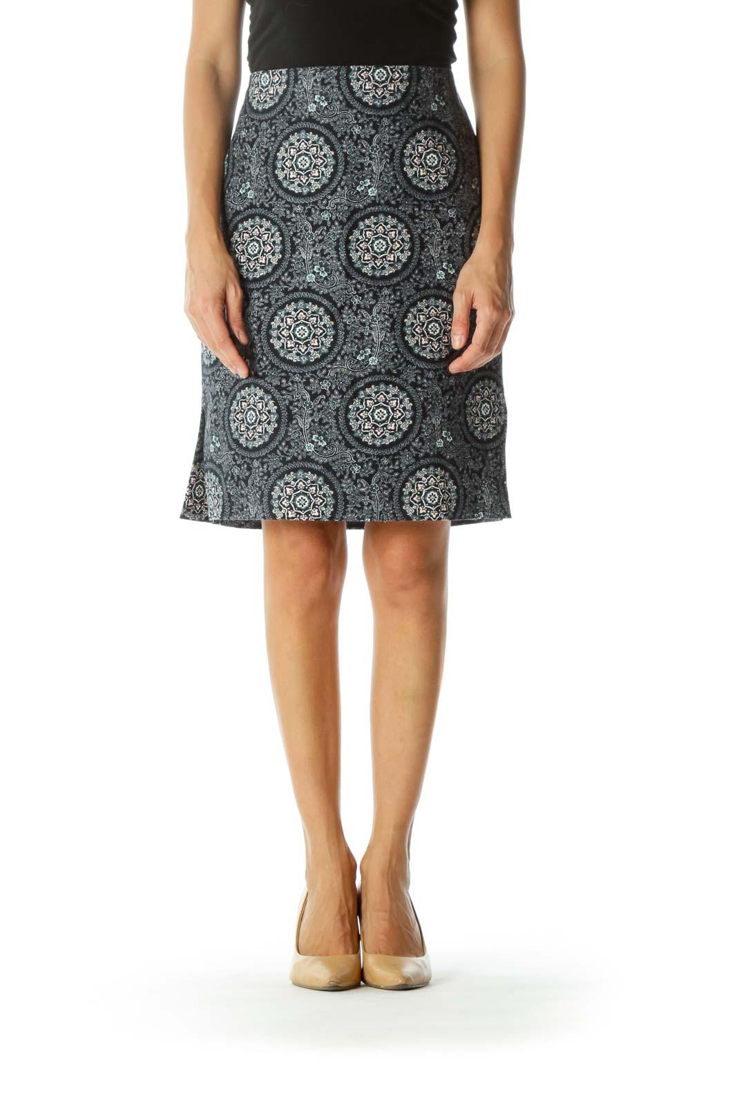 Blue Pink White Print Sides-Leg Slit Textured Skirt (Petite)