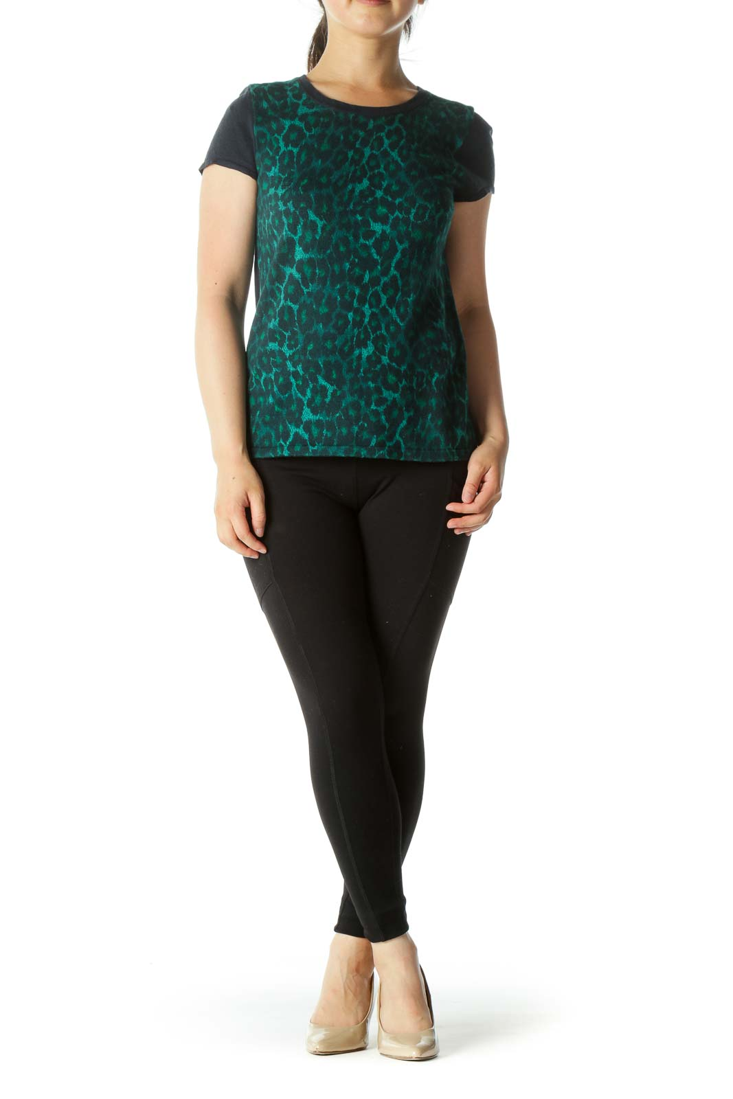 Green and Navy Animal Print Knit Top