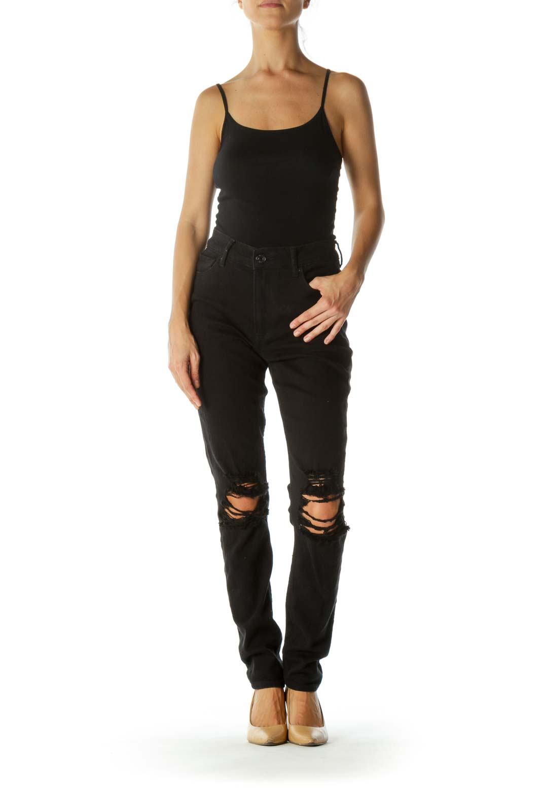 Black Distressed Legging High-Rise Pocketed Stretch Pants