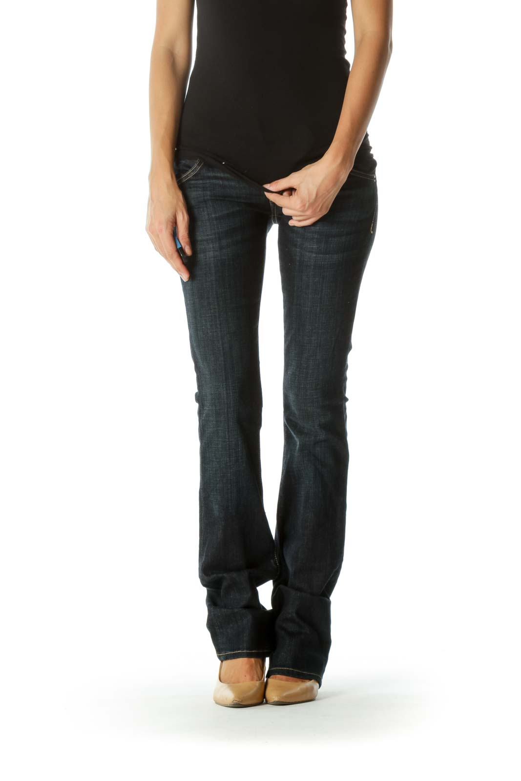 Blue Dark-Wash Straight-Leg Stretch Denim Jeans