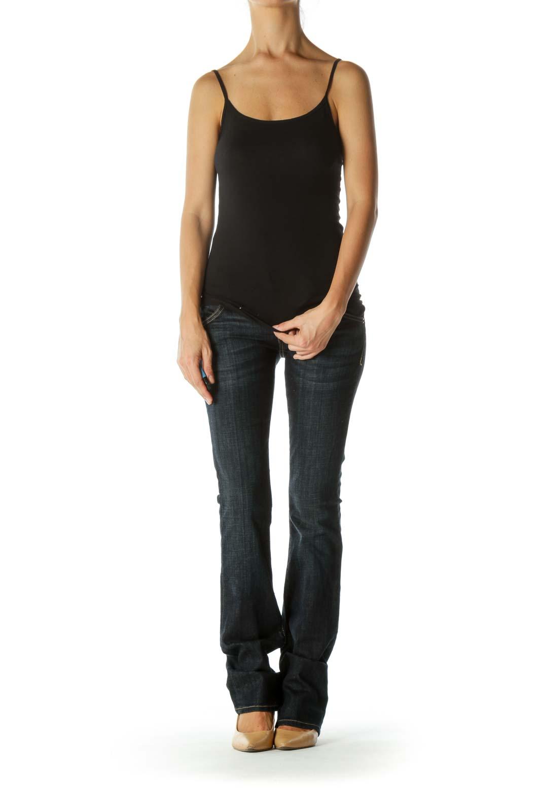 Blue Dark-Wash Straight-Leg Stretch Denim Jeans