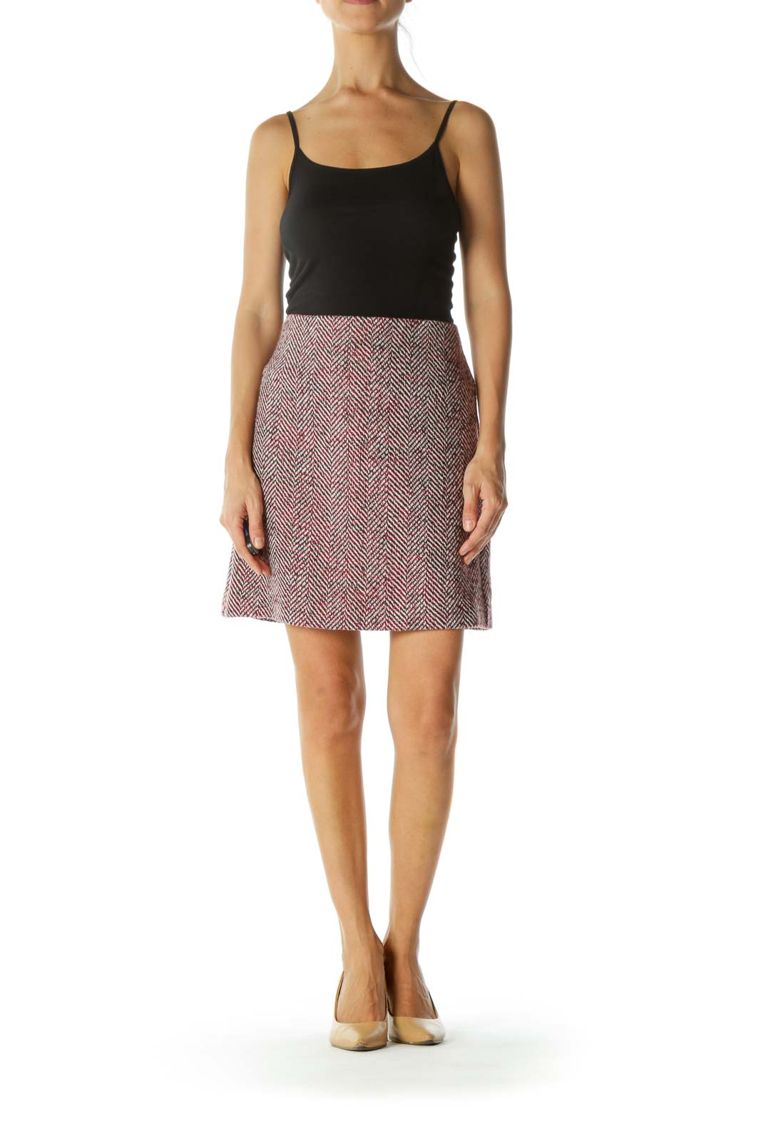 Black White Red Wool Blend Cinched Waist Knit Skirt (Petite)