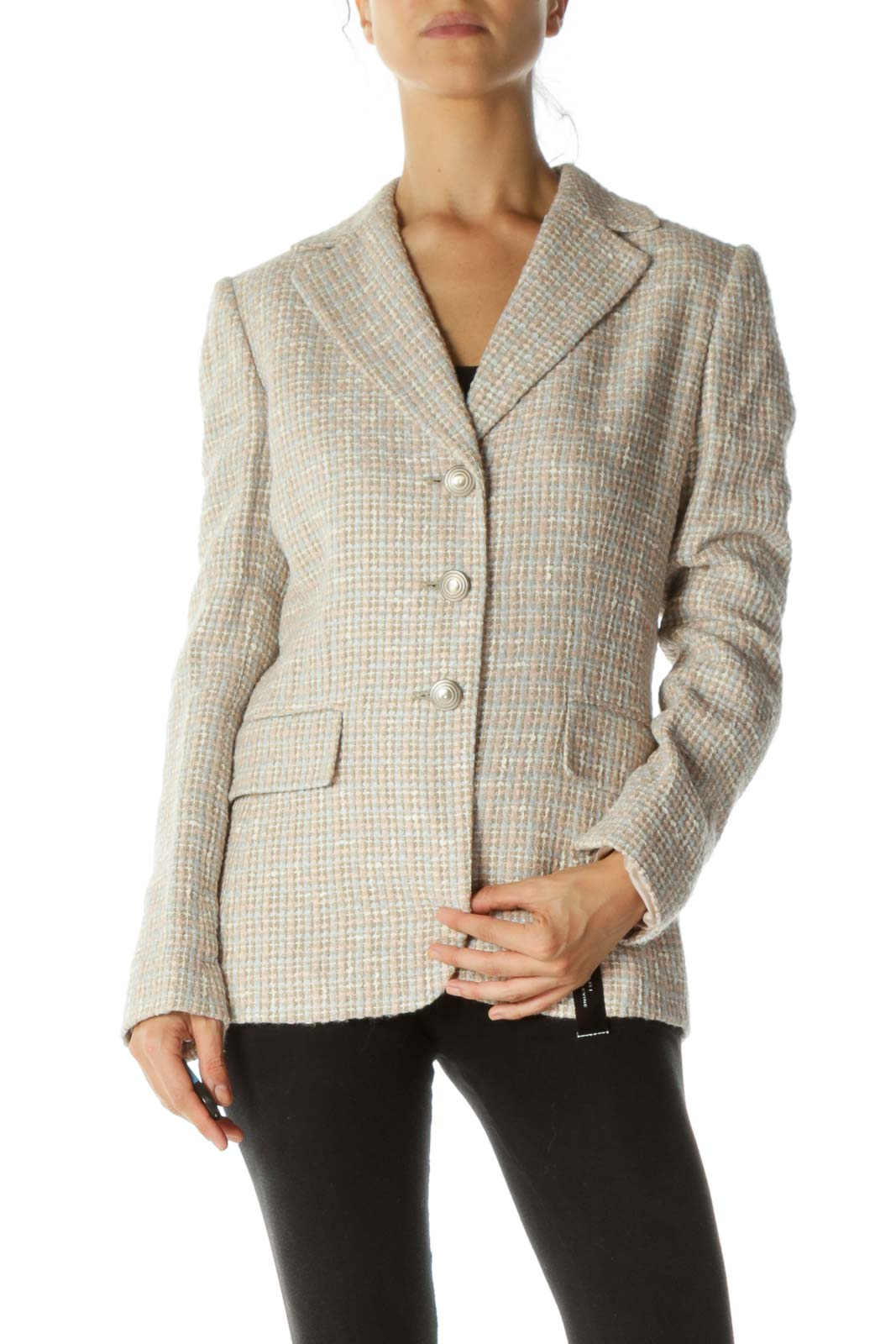 Pink Blue Tweed Blazer