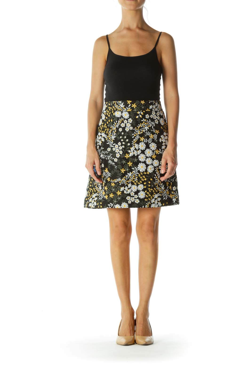 Black Yellow White Floral Jacquard Skirt