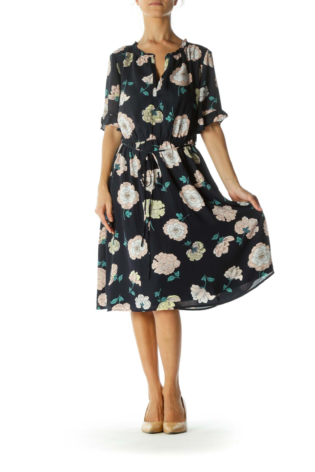 Blue Pink Yellow Floral Print Ruffle-Detail Belted Elastic Waist Day Dress