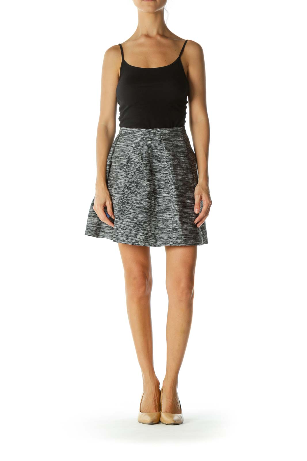 Black White Knit Textured Pocketed Pleated Pouf Skirt
