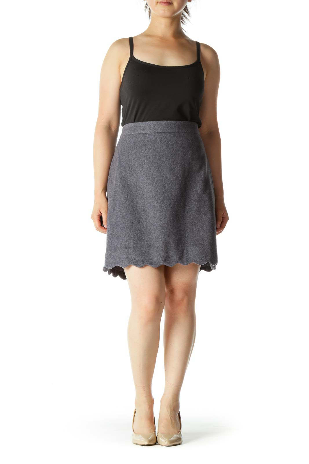 Gray Wool Blend Cinched Waist Scalloped Detail Skirt