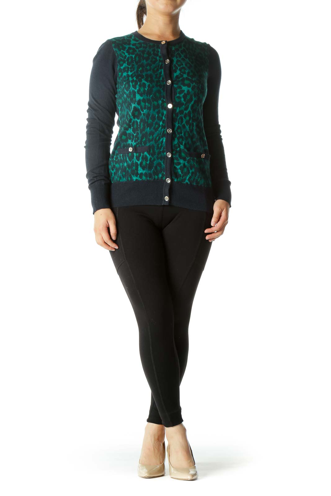 Green and Navy Animal Print Cardigan with Gold Buttons