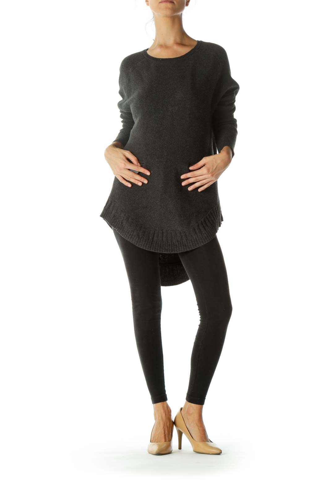 Charcoal Gray Round Neck Ribbed Textured Zippered Pockets Sweater