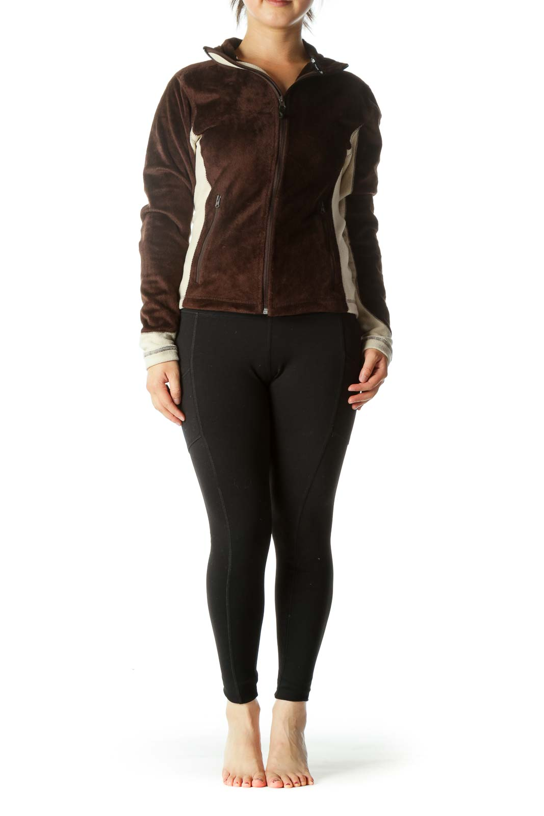 Brown Color Block Textured Zip Jacket