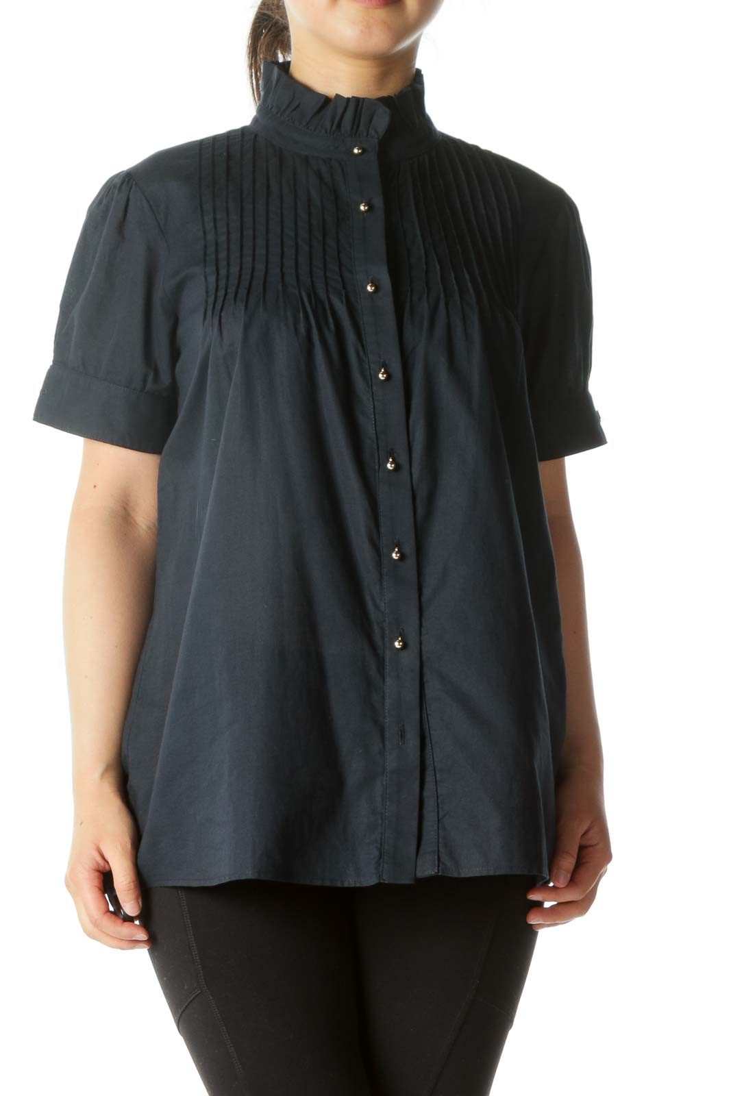 Navy Buttoned Pleated Short Sleeve Top