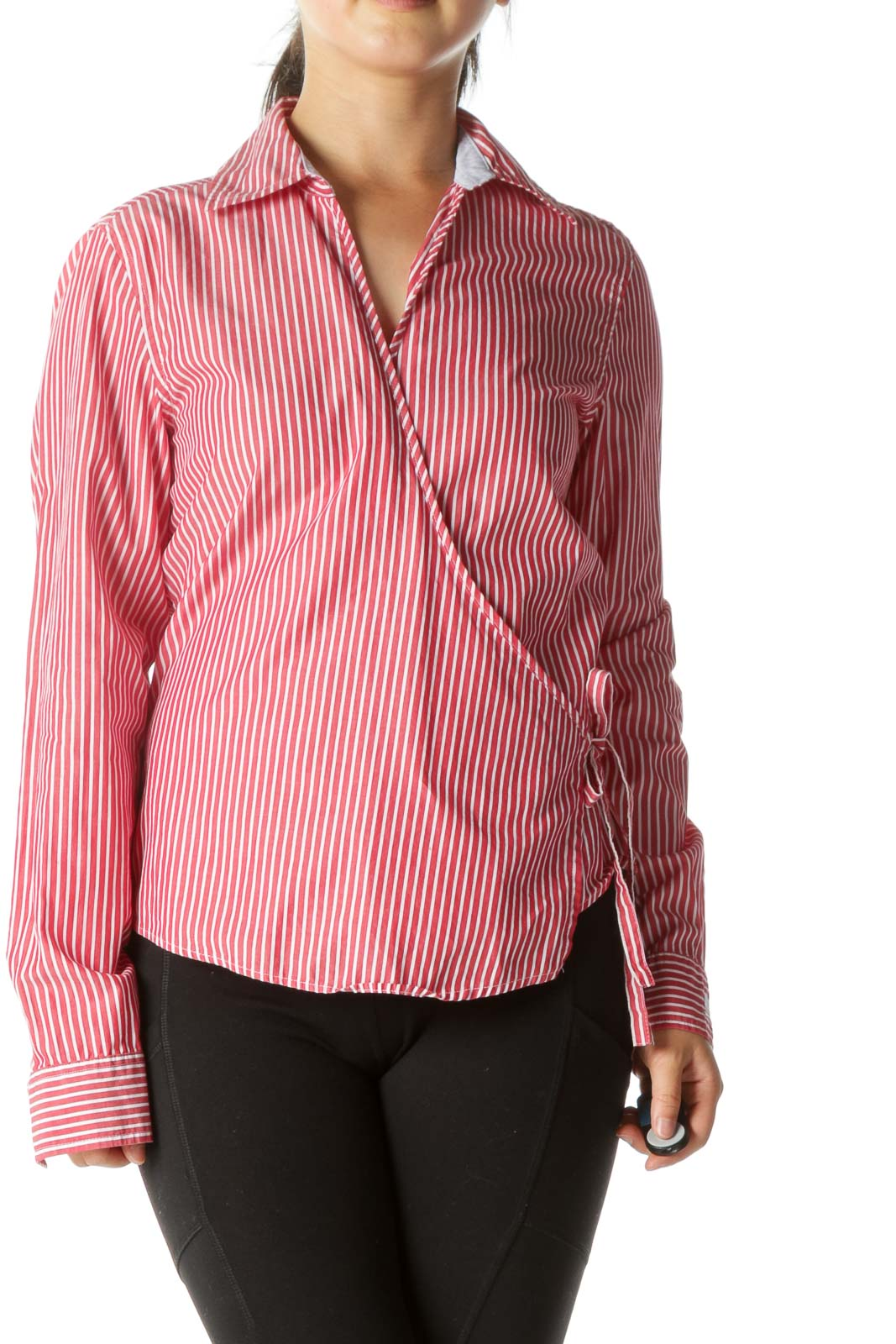 Red Striped Wrap Shirt
