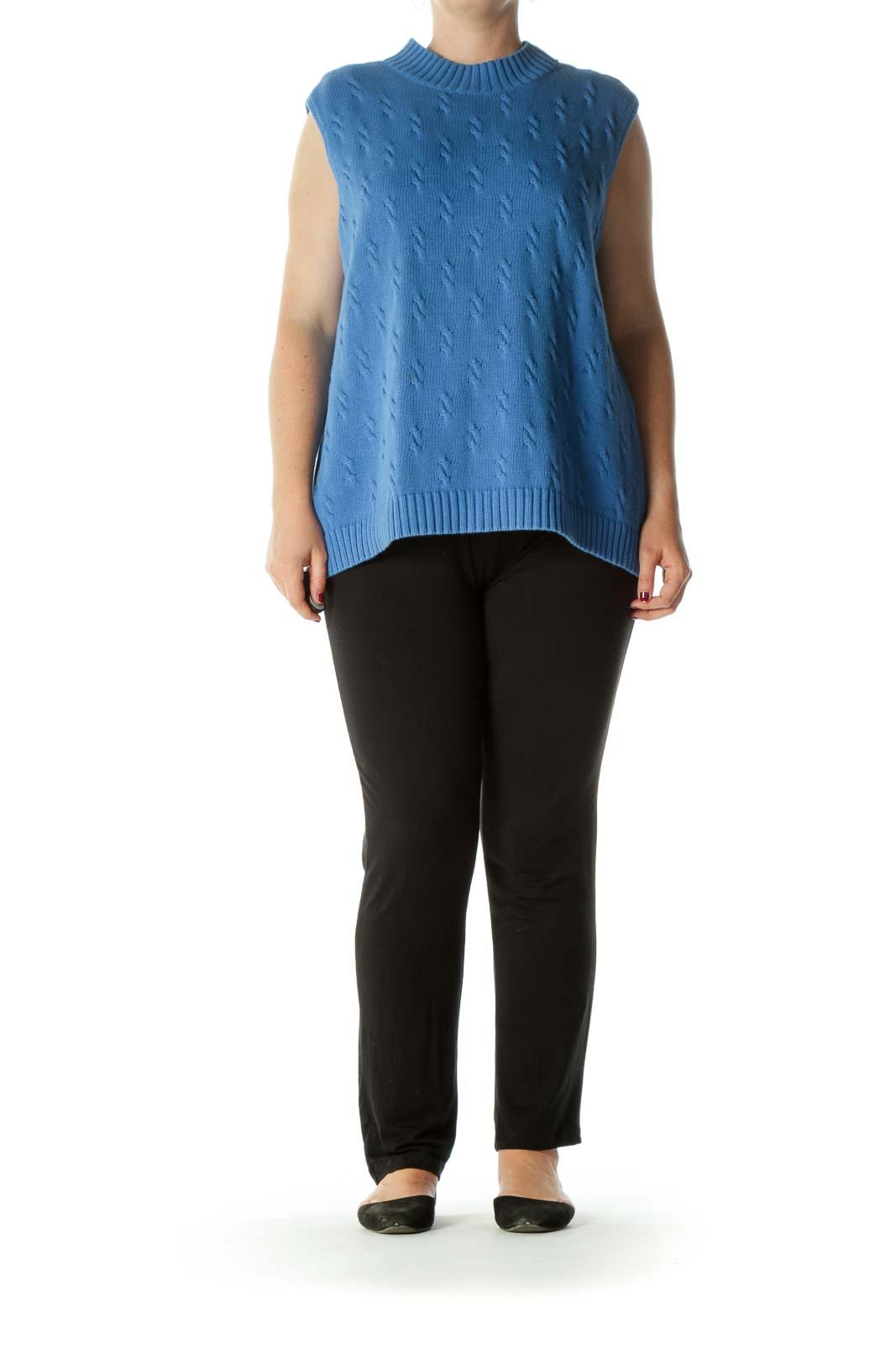 Blue 100% Cotton Round Neck Knit Stretch Sweater Vest