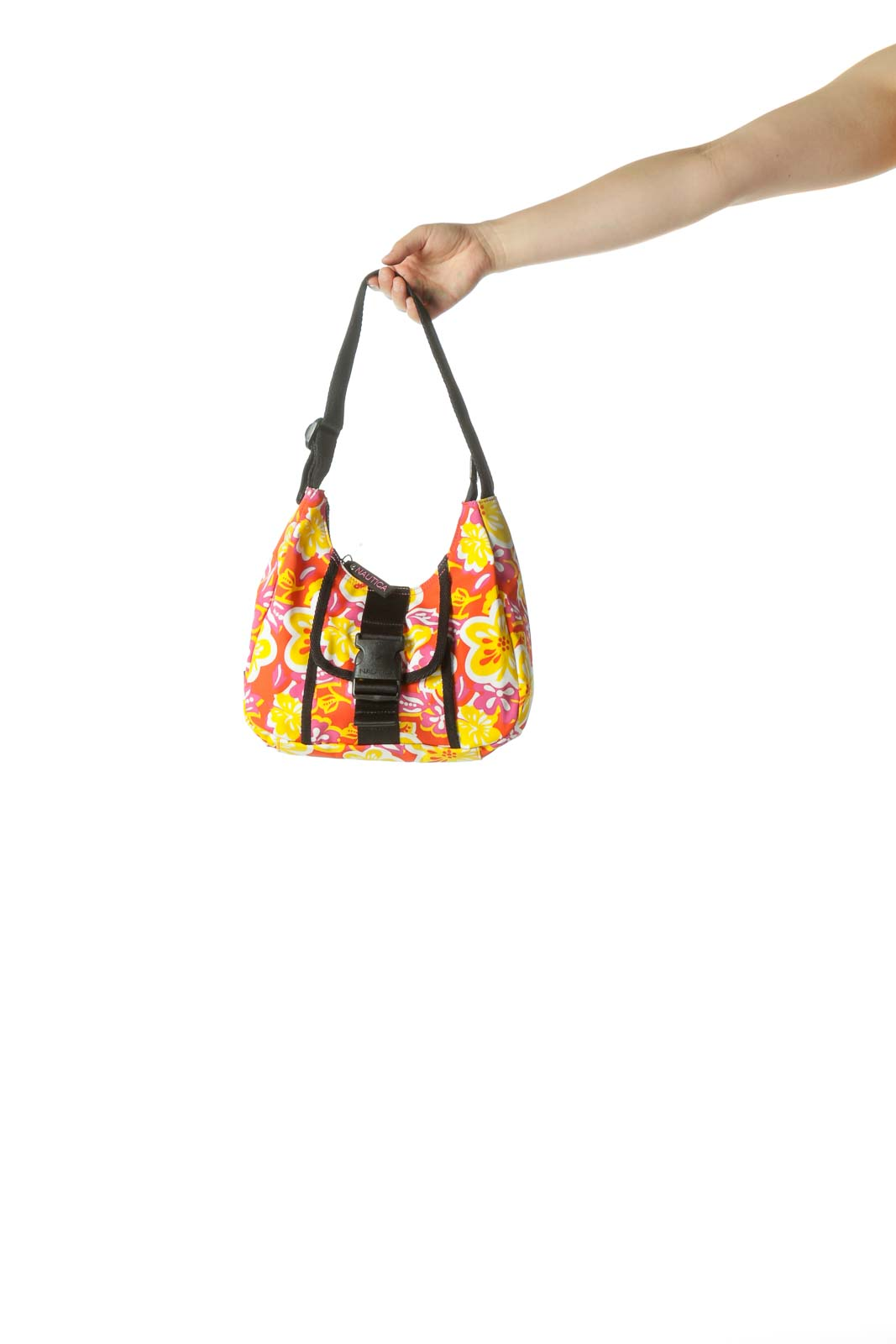 Orange Print Nylon Bag