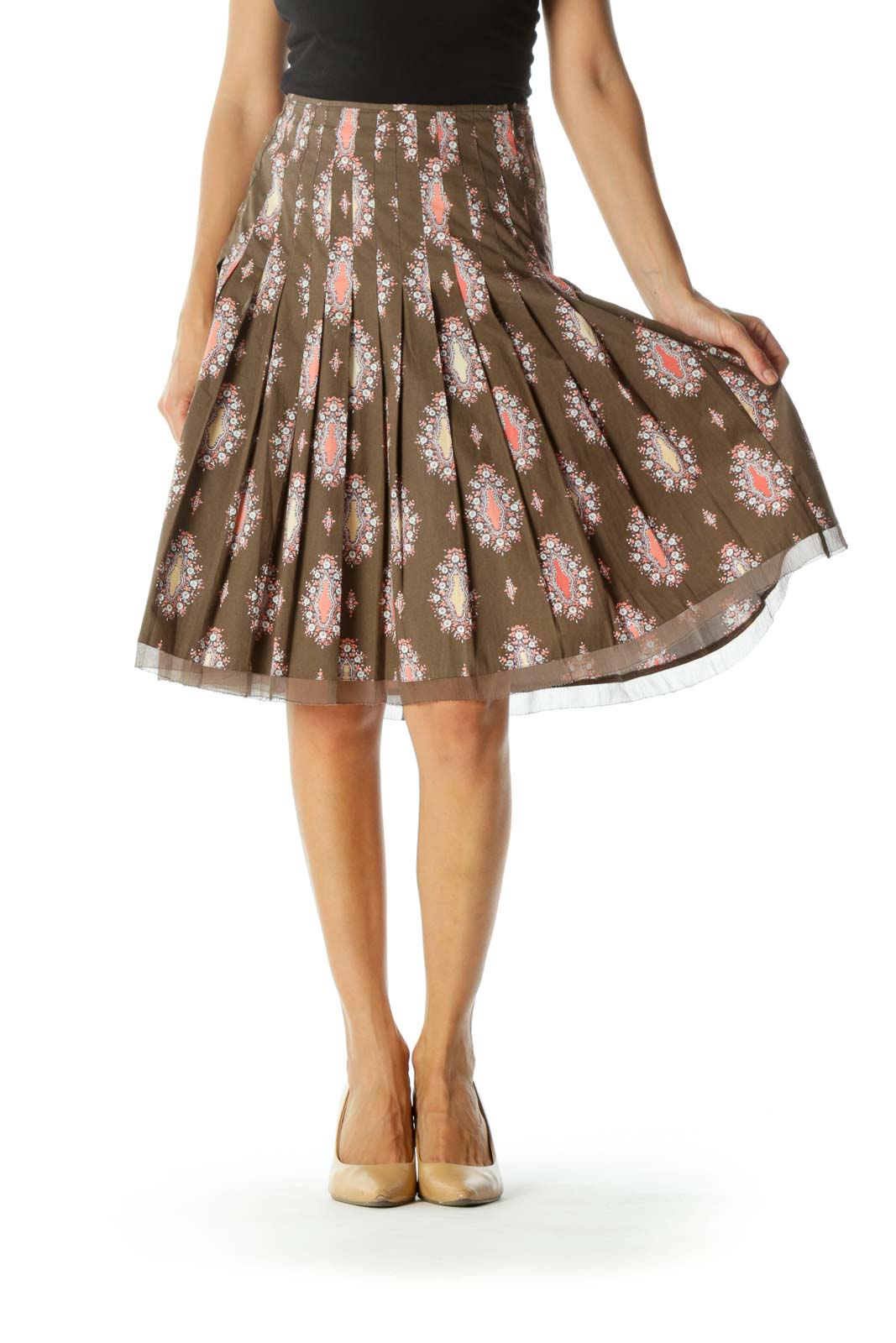 Brown Orange White Printed Pleated Cinched Waist A-Line Skirt