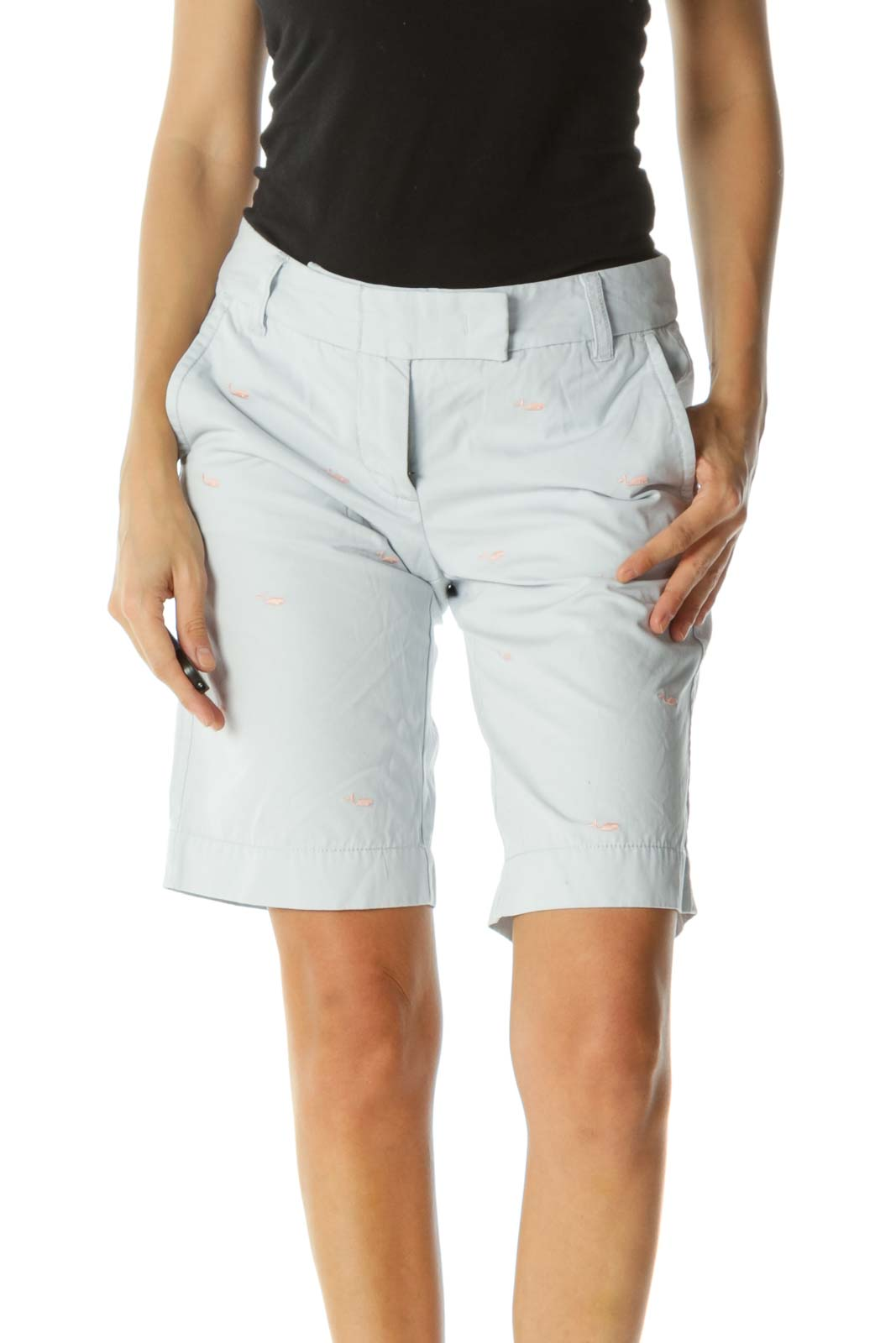 Light Blue Pink Embroidered Whales Pocketed Chino Shorts