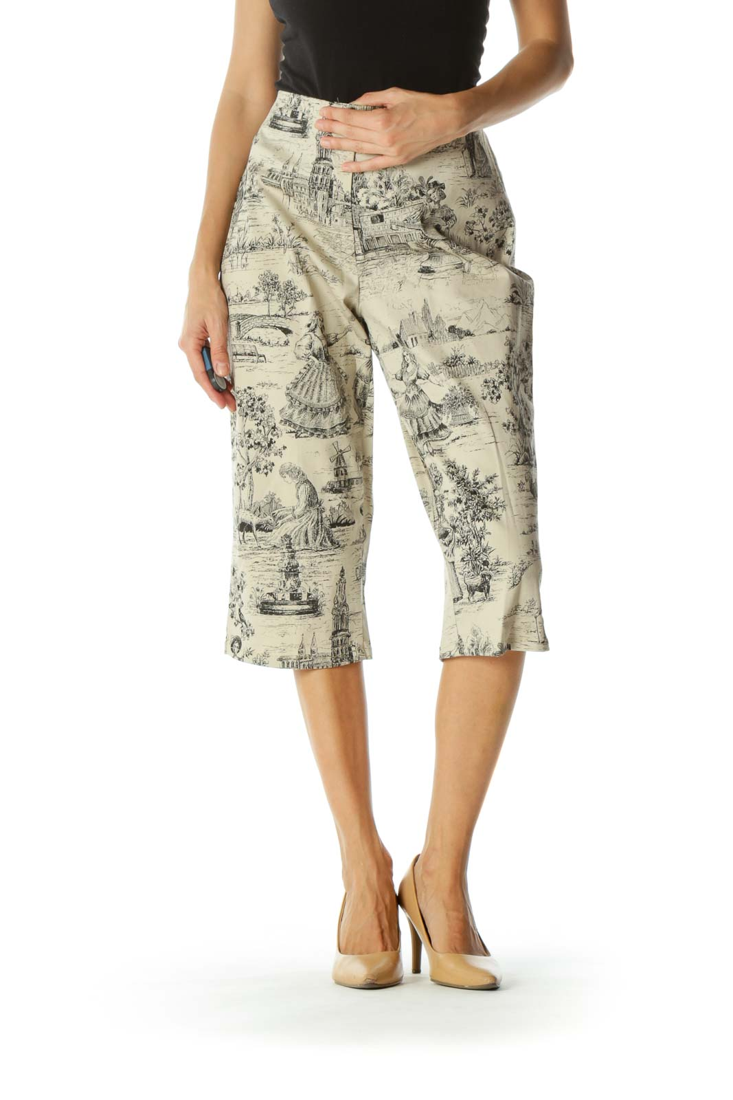 Beige Black Period Print Scenes Cropped Zippered High-Waist Stretch Pants (Altered)