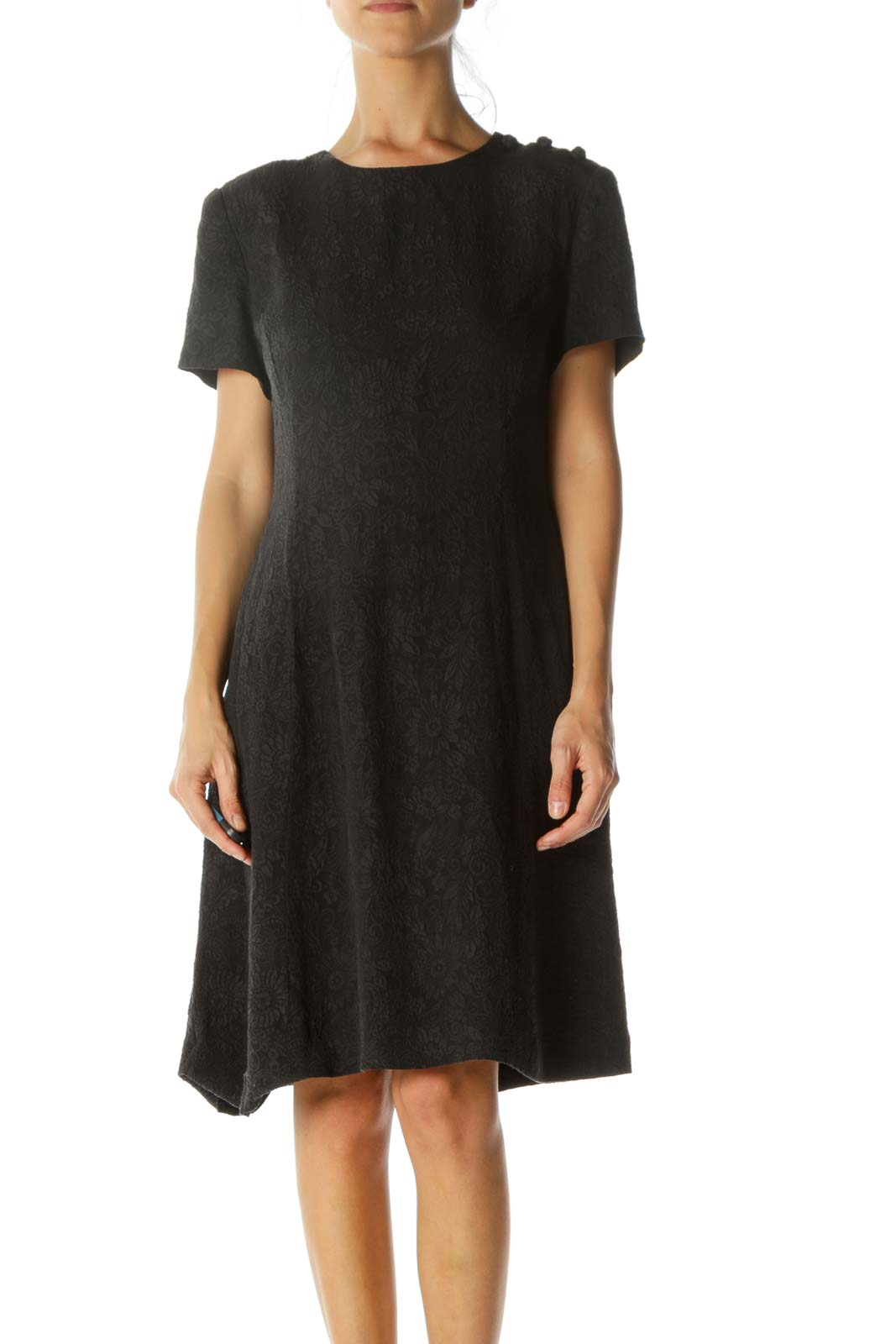 Black Silk Floral Jacquard Round Neck Fabric Buttons Detail Padded Shoulders Dress