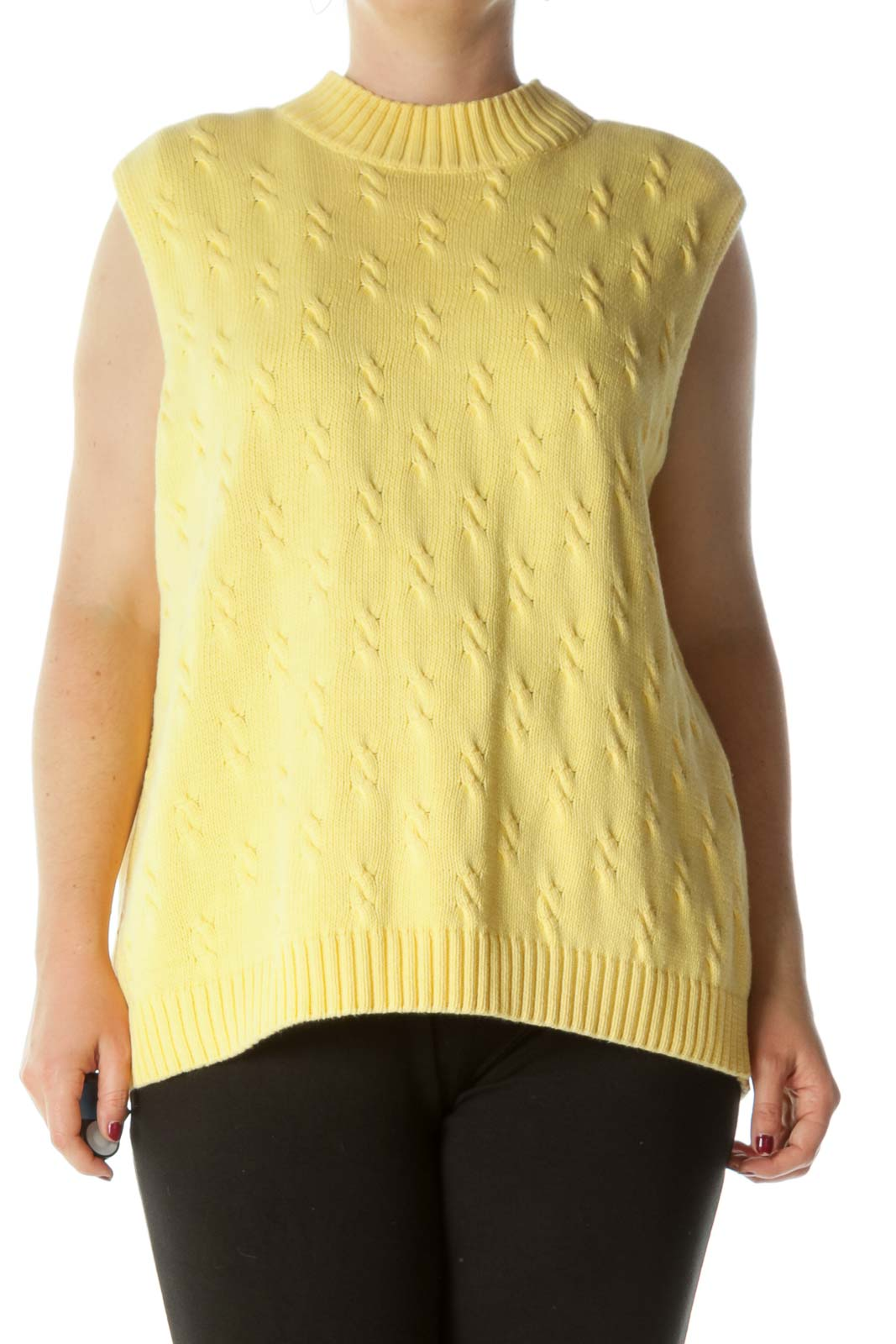 Yellow 100% Cotton Round Neck Stretch Sweater Vest