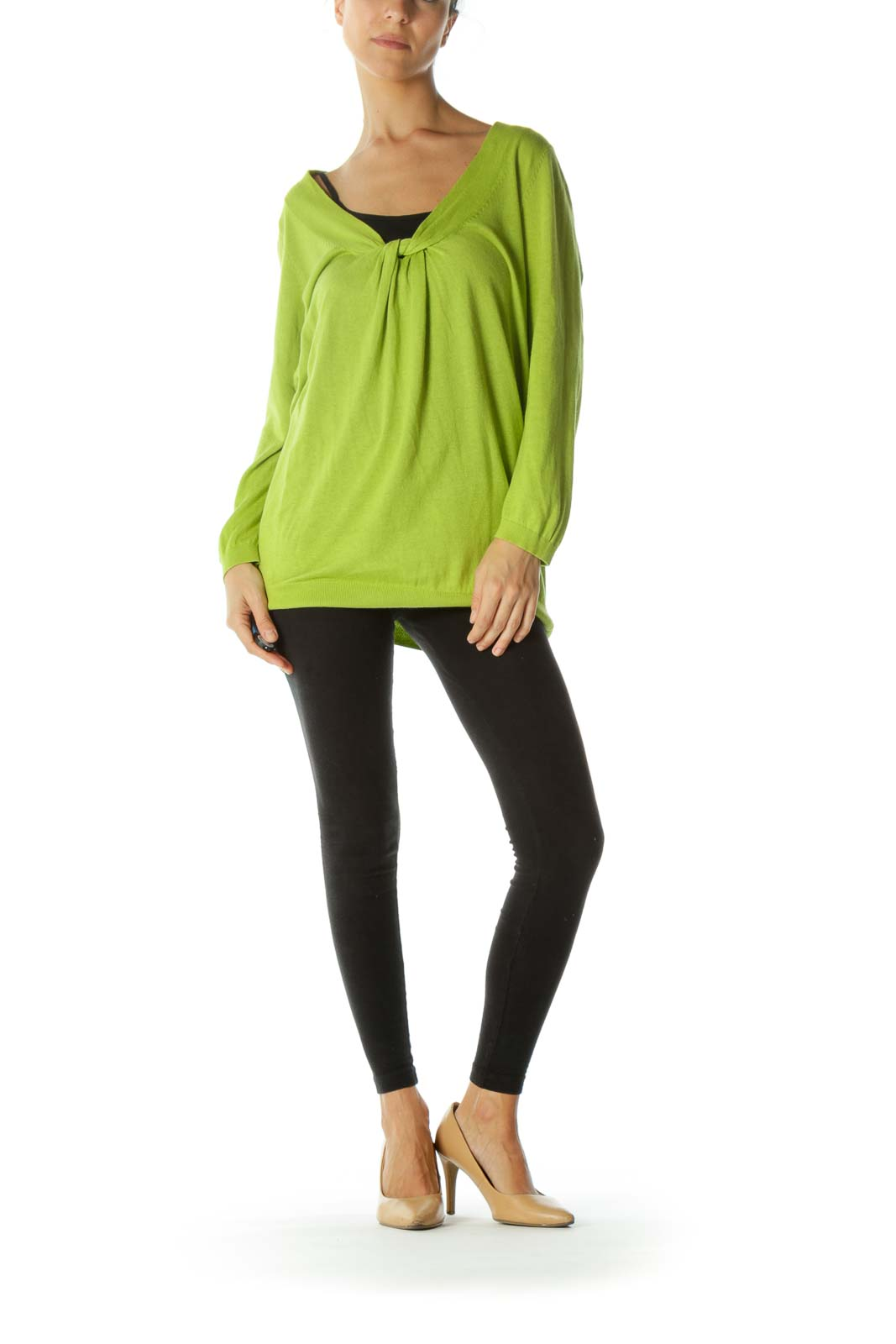 Lime Green Twist Detail Sweater