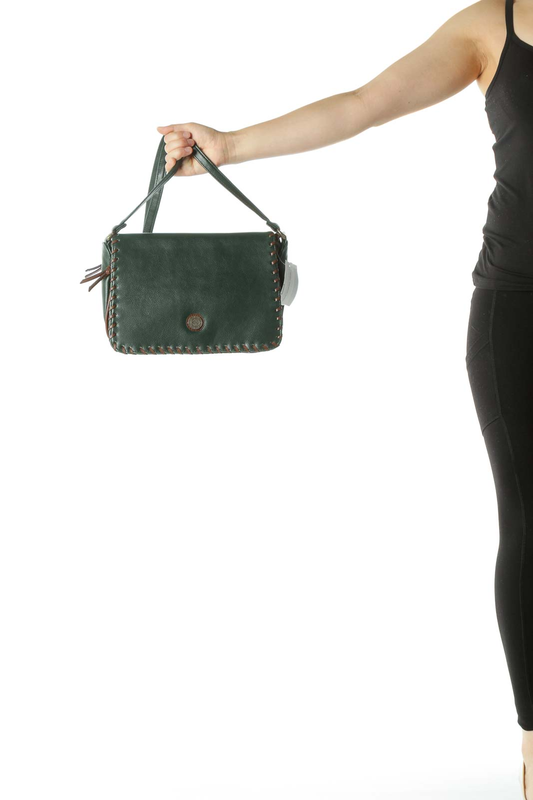 Green Color Block Detail Crossbody Bag