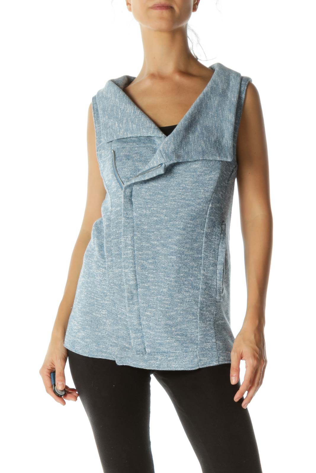 Blue White Mottled Pocketed Knit Stretch Vest