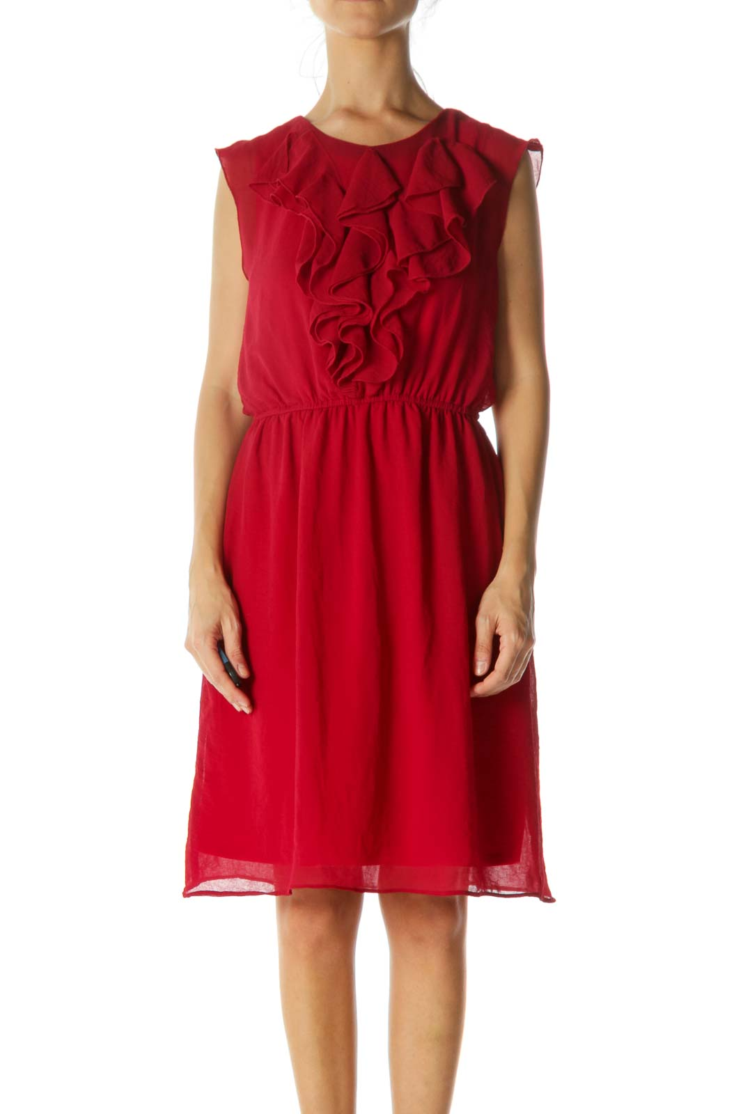 Red Ruffled Midi Dress