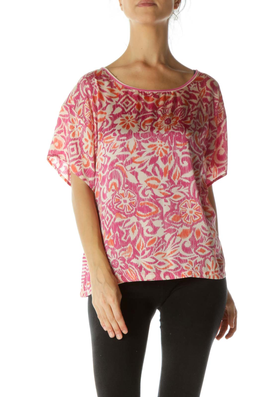 Pink Printed Short Sleeve Top
