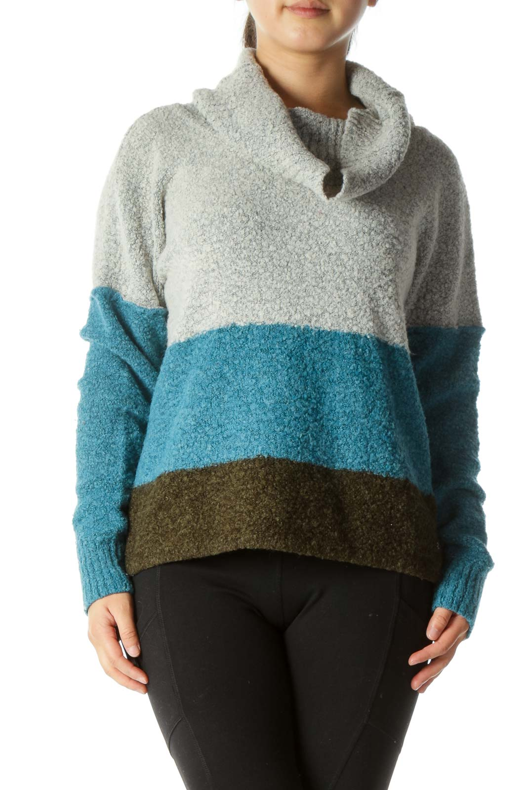 Gray Blue Green Color Block Cowl Neck Sweater