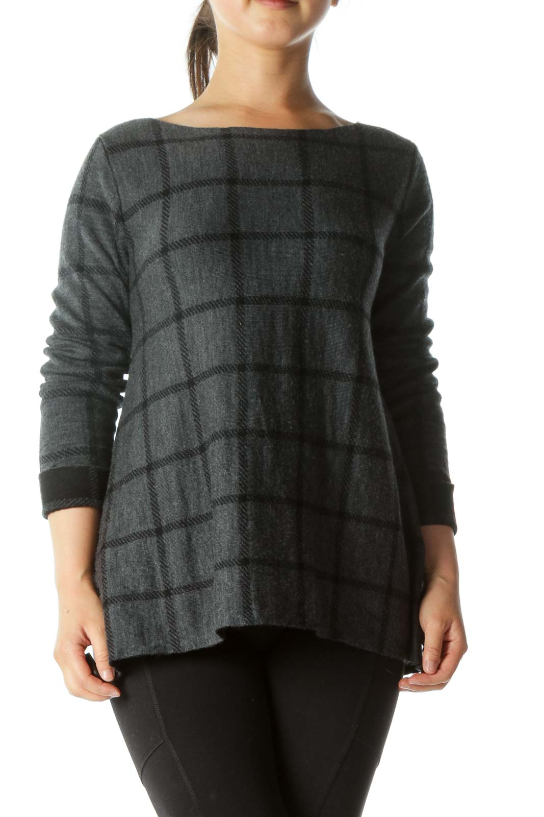 Gray Black Check Reversible Knit