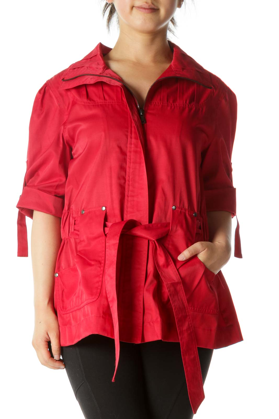 Red Short Sleeve Belted Pocketed Zippered Jacket