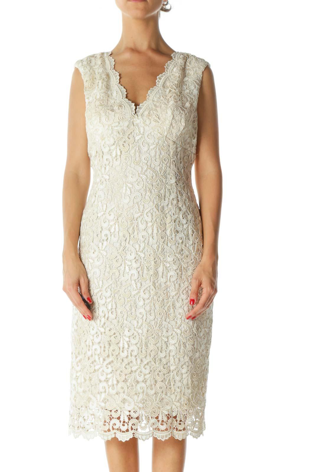 Cream Embroidered Metallic Dress